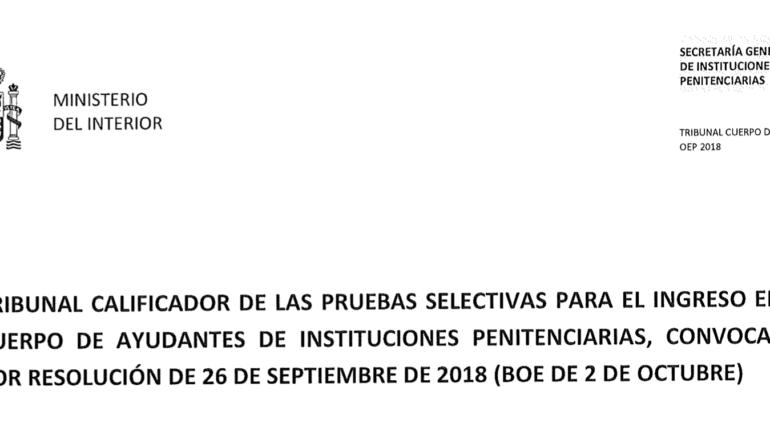 Ya está publicada la nota de corte del primer ejercicio.