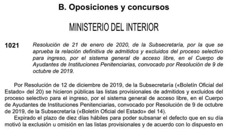 Relación definitiva de admitidos y excluidos y distribución de los aspirantes por sede de examen